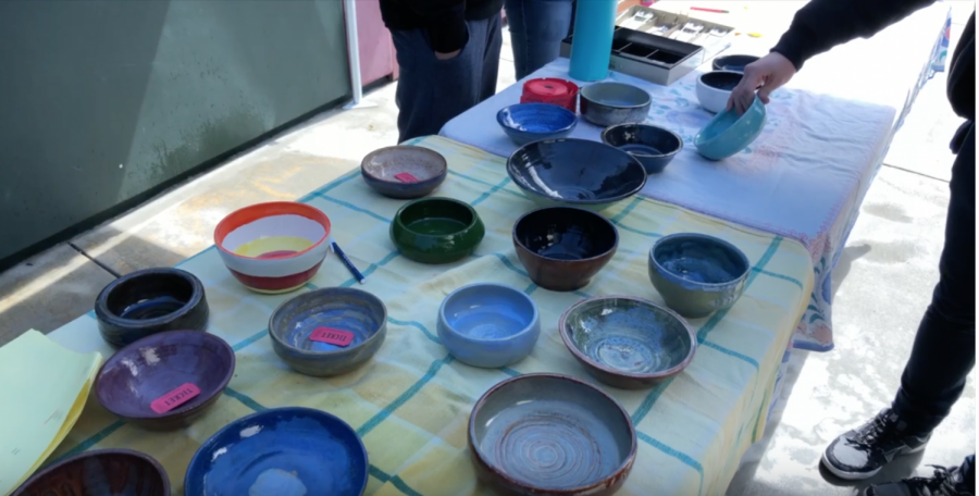 Some of the bowls made by the Ceramics II classes for the Empty Bowls Program.