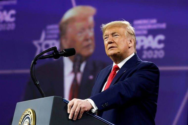 Trump speaking at CPAC (Conservative Political Action Conference)  Photo Courtesy of NBC News