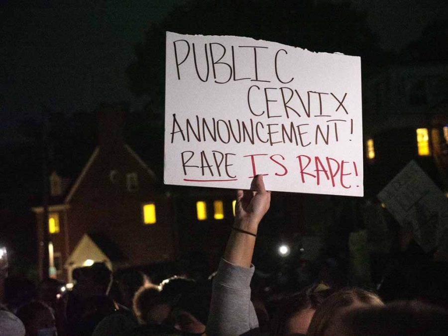Scenes from a protest against University of Iowa's Phi Gamma Delta fraternity, also known as FIJI, on Tuesday, Aug. 31, 2021, in Iowa City, Iowa.